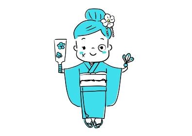 お正月 着物を着て羽子板を遊びをしている女