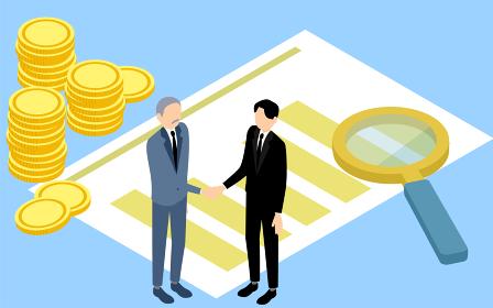 握手するビジネスマンと棒グラフと虫眼鏡とコインのアイソメトリックイラスト