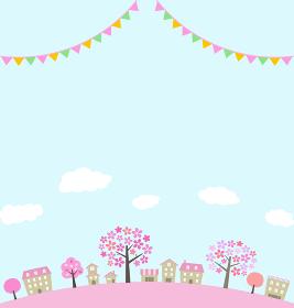 桜並木の街並みとガーランド