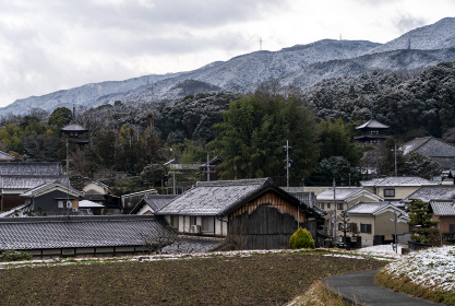 雪化粧する當麻寺遠望