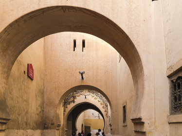 Arches in a small passage in the Medina old city in Marrakesh