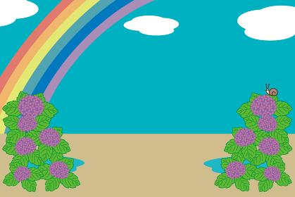 梅雨、あじさいと虹