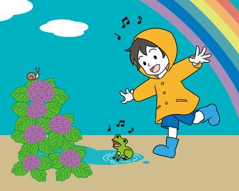 梅雨、レインコートを着た男の子とカエル