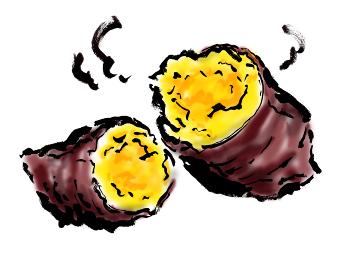 手描きイラスト素材 スィーツ おやつ 焼き芋, やきいも, イモ, さつまいも