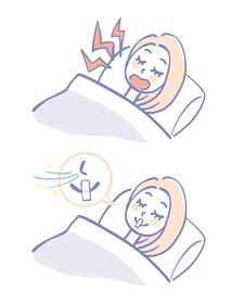 いびきをかく女性といびき対策をする女性