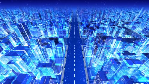 都市 夜 街 ビル 建物 シティ オフィスビル ビジネス街 オフィス街 3D イラスト 背景 バック