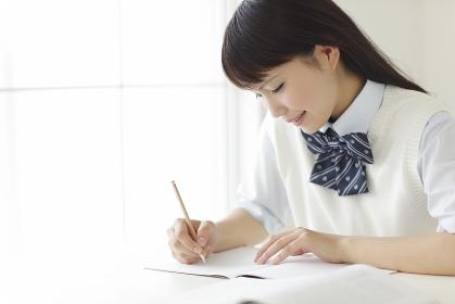 勉強をする高校生
