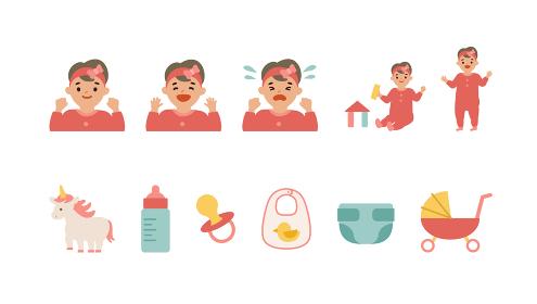 女の子の赤ちゃんとベビー用雑貨のイラスト