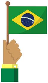 手持ち国旗イラスト ( 愛国心・イベント・お祝い・デモ ) / ブラジル