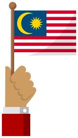 手持ち国旗イラスト ( 愛国心・イベント・お祝い・デモ ) / マレーシア