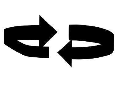 回転する矢印のシンプルなシルエット