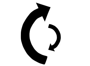大小の対称的な矢印のシルエット