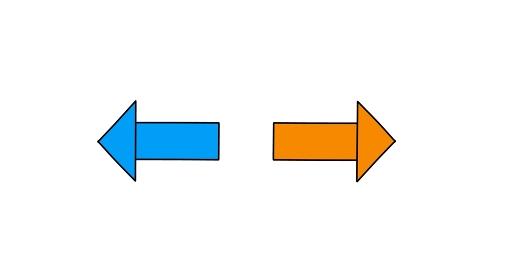 シンプルな青色と赤色の左右矢印「黒淵あり」