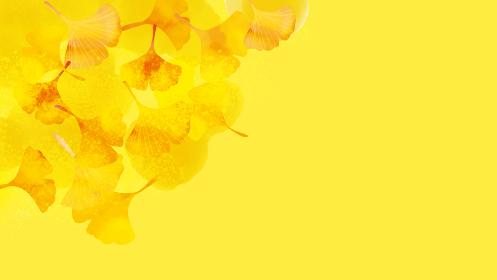 いちょうや木の葉の秋の背景素材
