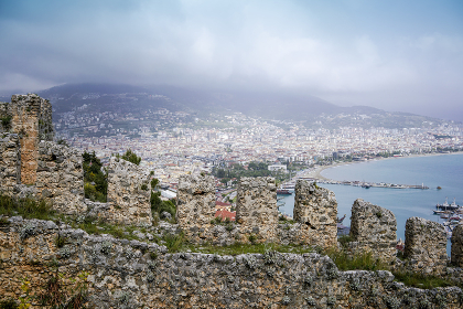 View from Alanya Castle with the mediterranean on the background