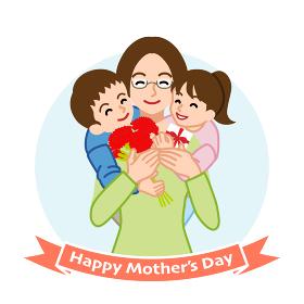 二人の子供を抱きしめる眼鏡の母親- 母の日コンセプトイラスト