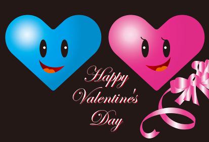 ハートのカップルのバレンタインカード