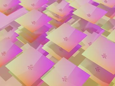 あじさいの花の3dイラスト。ピンクから黄色のグラデーション