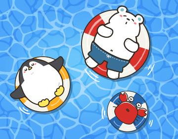 海水浴をする夏の動物たち