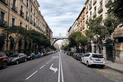 Old city street with bridge , Madrid, Community of Madrid, Spain