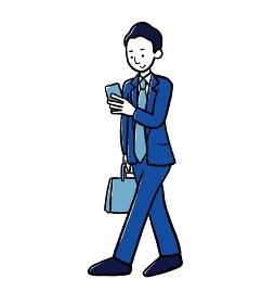 スマホ歩きをするスーツを着た男性のイラスト