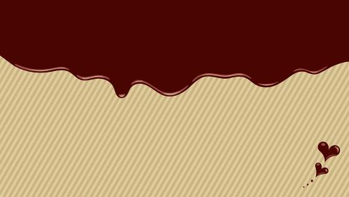 溶けるチョコレートのフレーム ハートのチョコつき 金色の斜めストライプ背景 複数バリエーションあり
