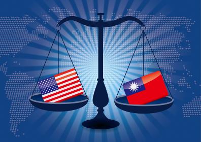 天秤と国旗アメリカと台湾の国旗国家対立国家紛争国際司法貿易のイメージイラスト世界地図と集中線背景