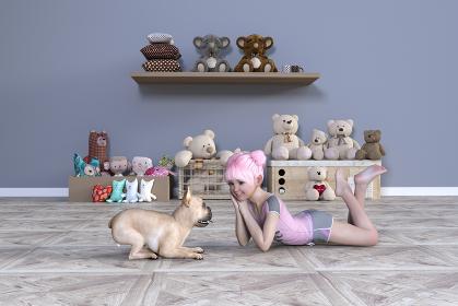 幼い女の子が熊のぬいぐるみがたくさんある子供部屋で寝そべりフレンチブルドッグとにらめっこをする