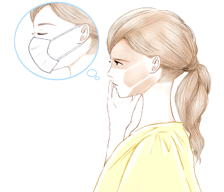 顔がマスクの形に日焼けしてしまった女性