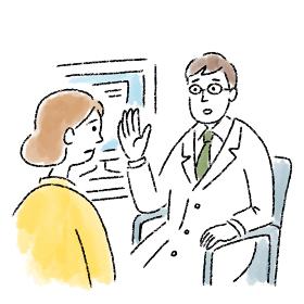 医者 若い 女性 診察 問診 困っている 水彩 手描き