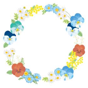春の花フレーム ビオラ 背景イラスト