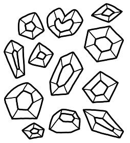 宝石のイラスト素材セット 線画
