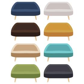 イラスト素材 ソファ 長椅子 カラー バリエーション ベクター