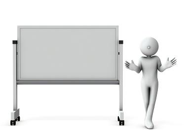 ホワイトボードを使ってプレゼンテーションする人物