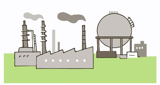 工場とガスタンク