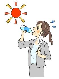 屋外でマスクをはずして水分補給するスーツの若い女性