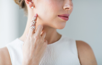 close up of beautiful woman with ring and earring