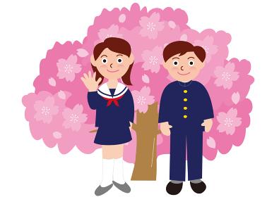 学生服の生徒と桜