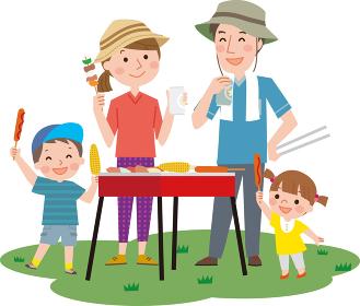 キャンプする家族(背景なし・半袖版)バーベキュー BBQ