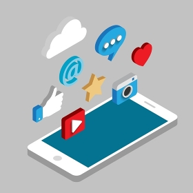 Social media flat 3d isometric concept vector icons.. Social media flat 3d isometric concept vector icons. . Flat web illustration infographics collection.