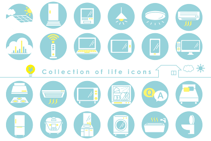 生活に必要な電化製品とパソコンのアイコン集