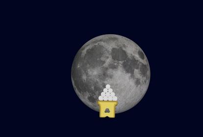 満月の日の十五夜、3Dレンダリング