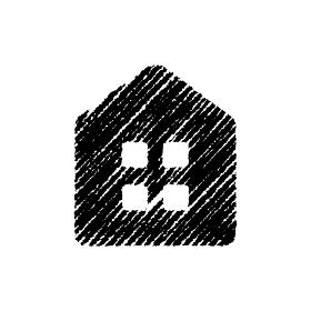 チョークで描いたような図形/アイコン(家・ホーム)