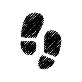 チョークで描いたような図形/アイコン(足跡)