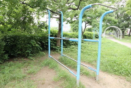 日本の公園の健康器具 平行棒 懸垂