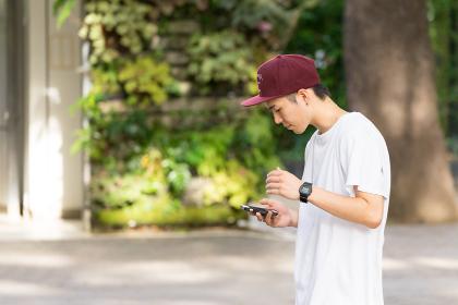 携帯を見る若い男性