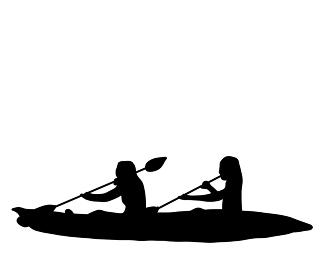 スポーツ選手、カヌーのシルエット