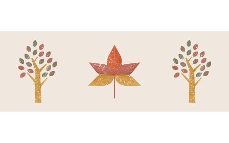 紅葉したモミジと街路樹のイラスト、透明水彩風