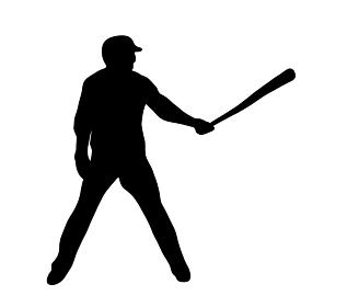 バットを構える野球のシルエット