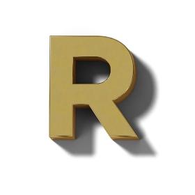 リアルな木製の文字ブロックのR